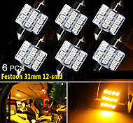 6X Yellow 12-SMD 31mm Festoon DE3175 3022 Car Interior Map Dome License Light US