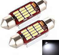 YOBO 5W 400LM Festoon 39MM 12*4014 SMD LED White Light for Car Steering Light Bulb / Reading Lamp - (2 PCS /DC 12-24V)