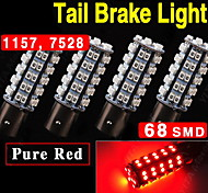 4X Super Red BAY15D 1157 68-SMD Tail Stop Brake Light LED Lamp Bulb 7528 2357 US