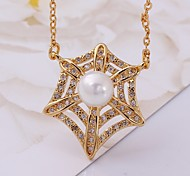 Classical Hollow Diamantes Spider Web Multicolor Gold-Plated Pendant Necklace(Golden,Rose Gold,White)(1PC)