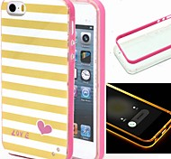 2-in-1 Yellow White Lattice Pattern TPU Back Cover with PC Bumper Shockproof Soft Case for iPhone 5/5S