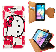 Disney Hello Kitty Red  PU leather case with Stand andHeadfore HD Screen Protector for Samsung S6E