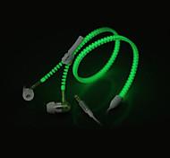 brilham no escuro com zíper fones earbuds fones de ouvido fones de ouvido com jack estéreo de 3,5 mm universal&microfone para