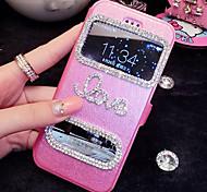 lady®luxurious caso flip telefone para iphone 6 mais / 6s mais (5,5 polegadas), decorada com diamantes camellia e material de couro