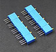 3296 potenciómetro de 3 pines 10kOhm resistencias ajustables - azul (10 piezas)