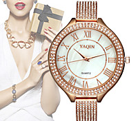 Yaqin ® Brand Big Round Dial Silver Gold Mesh Band Diamond Watches Women Quartz Fashion Watch Clock Hour Cool Watches Unique Watches