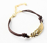 Women's Fashion Alloy Golden Leaf Bracelet