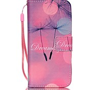 Dandelion Pattern PU Leather Material Flip Card Phone Case for iPhone 6/6S