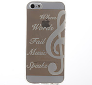 White Music Pattern Transparent Soft TPU Back Cover for iPhone 5/5S