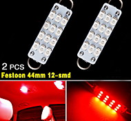 "2X RED 44mm 1.73"" 12-SMD Festoon Rigid Loop LED Bulb Interior Light 561 562 563"