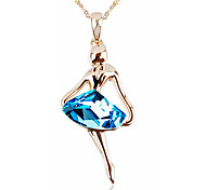 T&C Women's Elegant Gift 18k Rose Gold Plated Blue Rhombus Crystal Dancing Girl Pendant Necklace