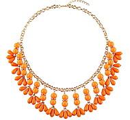 Orange Beads Pendant Short Necklace Women Fashion Jewelry