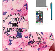 For iPhone 6 Case / iPhone 6 Plus Case Card Holder / with Stand Case Full Body Case Flower Hard PU LeatheriPhone 6s Plus/6 Plus / iPhone