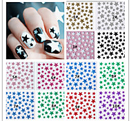 10PCS  Mixed  Color Star  3D Nail Sticker Decals