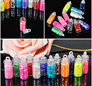 12 Pcs/Set Mini Bottle  Nail Art Powder Dust Tip Rhinestone Manicure Tools Nail Art Tools