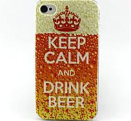 Bier trinken Malerei-Muster-TPU weiche Tasche für iPhone 4 / 4S