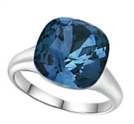 T&C Women's Elegant Bridal Jewelry Top Class 18k White Gold Plated Square Navy Blue Sapphire Crystal Ring