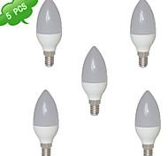 5pcs C37 E14 8W 3000K caliente cri blanco>80 15x3022smd llevó 800lm (= incahuasi 75w) la luz llevó el bulbo de la vela (CA 85-265V)