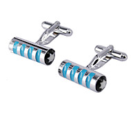 Blue Cylindrical Men's Cufflinks
