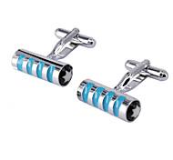 Blue Cylindrical Men's Cufflinks
