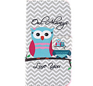 Wave Owl Pattern PU Leather Case with Money Holder Card Slot for Wiko Lenny