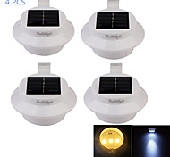 YouOKLight® 4PCS Waterproof 0.3W 40lm 3-LED Warm White/Cool  White Solar Powered Garden Wall Lamp - White/Black