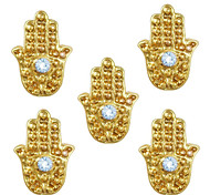 10pcs Hand Charms with Blue Rhinestone Evil Eye Hamsa Egypt Theme 3D Gold Nail Art Alloy 7mm x 9mm