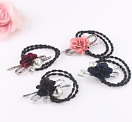 Delicated Cute Cubic Pearl Flowers Elastic Hair Bands