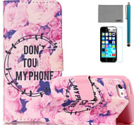 LEXY® Flowers Story Pattern PU Full Body Leather Case with Screen Protector and Stylus for iPhone 5C