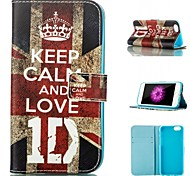 UK Flag and Keep Me Calm and Love Pattern Card Stand PU Leather Case Cover for iPhone 6 / 6S