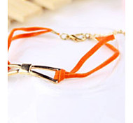 Fashion Women Orange Leather Cord Bangle Bowknot Bracelet