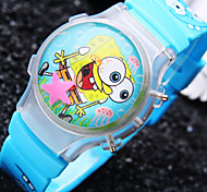 Kids' New Cartoon Flip Round Dial Spongebob Pattern Silicone Strap Flash Digital Watch (Assorted Colors)