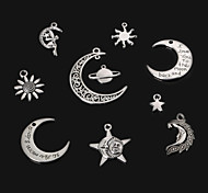 Beadia Vintage Metal Pendants Antique Silver Sun Star Moon & The Earth Shape Alloy Charm Pendants 10 Styles U-Pick