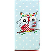 Owl Pattern PU Leather Case with Money Holder Card Slot for BQ Aquaris E5