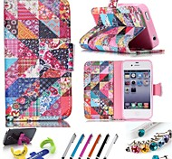Specially Designed Geometric Pattern PU Leather Whole Package Type Mobile Phone Holster for iPhone 4/4S