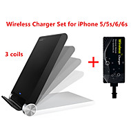 Tesla1856 Qi 3 Coils Wireless Charger Dock and receiver for iPhone 5/5s/6/6s