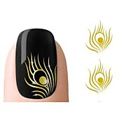 1 PCS  3D Fashion Gold Peacock Feather Nail Art Stickers