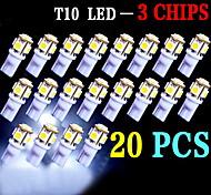 20 pezzi bianco t10 5-SMD 5050 6000k luce interna lampadine W5W 2825 158 192 168