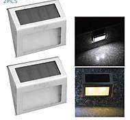 youoklight® 2шт 0.2W 2-LED теплый белый / белый свет солнечный управления настенный светильник - серебряный