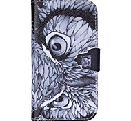 Owl Eyes Pattern PU Leather Case with Card Slot and Stand for Samsung Galaxy S4 mini/S3mini/S5mini/S3/S4/S5/S6
