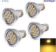 7W E26/E27 Focos LED A50 15 SMD 5630 600 lm Blanco Cálido Decorativa AC 85-265 V 4 piezas