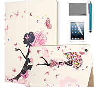 LEXY® Butterfly Girl Pattern PU Leather Flip Stand Case with Screen Protector and Stylus for iPad Air 2/iPad 6