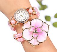 yilisha® donne oro rosa placcato strass quadrante rotondo grandi fiori di perline involucro vigilanze del braccialetto braccialetto