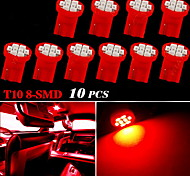10X T10 Side Wedge 8-SMD Pure Red 168 194 License Plate Map Door Dome LED Light