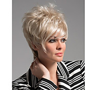 Capless High Quality Short Curly Light Blonde Synthetic with Side Bang