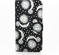 Stars The Sun The Moon Pattern PU Leather Phone Case For Samsung Galaxy S6/S6 Edge/S6 Edge Plus