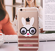 Cartoon Animal Transparent TPU Back Case for iPhone 6 with Neck Rope