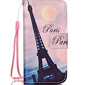 Crooked Tower Pattern PU Leather Material Flip Card Phone Case for iPhone 5C