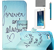 LEXY® Green Word Pattern PU Full Body Leather Case with Screen Protector and Stylus for iPhone 5/5S