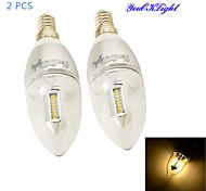 3W E14 LED Kerzen-Glühbirnen C35 32 SMD 3014 300 lm Warmes Weiß Dekorativ AC 85-265 V 2 Stück